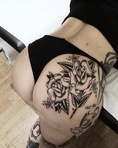 "483 Likes, 30 Comments - ✴Hellcock Tattooing✴ (@hellcock) on Instagram: ""Rose sulla pesca  Grazie @damned_damned per la grande fiducia Next stop: 10/11 APRIL  PARIS…"""