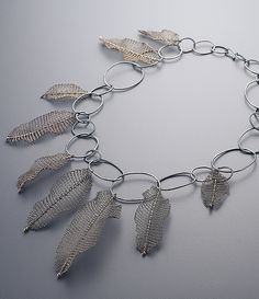 Necklace sterling silver, 24k gold leaf-Conceptual Jewelry - sowonjoo studio