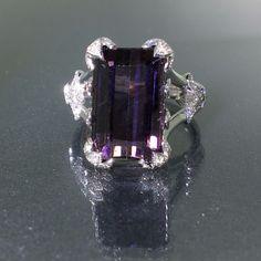 Designer GIA certified 18k Gold Natural Purple Siberite Tourmaline Diamond Ring #BKasabyan #Solitairecluster