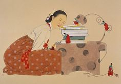 By Shin Sunmi    당신이 잠든사이7 77x110 장지에 채색 2008 (While You're Sleeping) Korean Illustration, Graphic Illustration, Korean Art, Asian Art, Korean Traditional, Traditional Art, Back To School Art, Art Chinois, Korean Painting