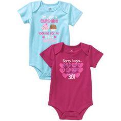 Newborn Baby Girl Attitude Bodysuits, 2-Pack, Size: 0 - 3 Months, Pink
