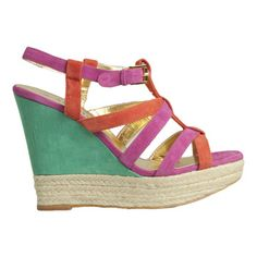 FRENZIE by MOLLINI. Leather upper, synthetic lining and sole. 12 cm suede and rope platform wedge.