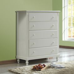 TRIBECCA HOME Macedonia White 5-drawer Chest - Overstock™ Shopping - Big Discounts on Tribecca Home Kids' Dressers  Would change the knobs to mini cupcake knobs.