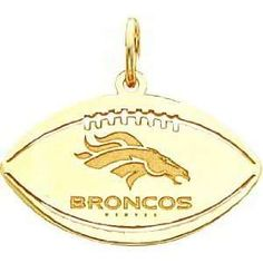 14K Gold NFL Denver Broncos Logo Football Charm Sports
