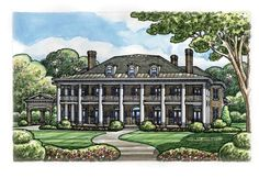 House Plan 66446 | Colonial   Plantation    Plan with 9360 Sq. Ft., 5 Bedrooms, 7 Bathrooms, 4 Car Garage