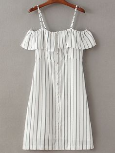 To find out about the Black White Stripe Buttons Front Spaghetti Strap Dress at SHEIN, part of our latest Dresses ready to shop online today! Look Fashion, Trendy Fashion, Fashion Outfits, Dress Fashion, Summer Outfits, Cute Outfits, Summer Dresses, Dresses 2016, Shift Dresses