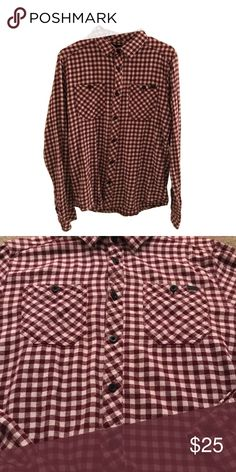 Burgundy and White Long Sleeve Flannel Really nice quality flannel. Awesome for cool weather. Rusty Shirts Casual Button Down Shirts