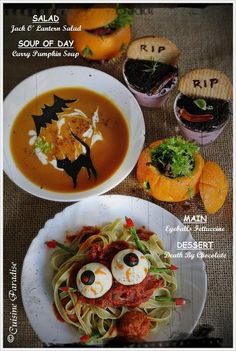 Halloween Recipes : Jack O' Lantern, Black Cat Pumpkin Soup, Eyeballs Fettuccine And Death By Chocolate