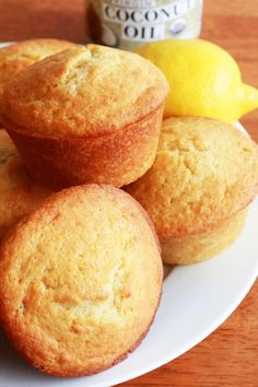 Lemon Coconut Muffins Recipe (Honest Cooking), batter made with buttermilk and coconut oil
