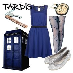 """TARDIS"" by fandom-wardrobes ❤ liked on Polyvore featuring even&odd, Clair Fashion, Accessorize, tardis and doctor who"