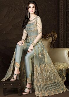 You Will Definitely Earn Lots Of Compliments Wearing This Heavy Designer Floor Length Suit In Grey Color Paired With Grey Colored Bottom And Its Rich Color And Is Making The Suit Attractive. Party Wear Indian Dresses, Designer Party Wear Dresses, Indian Gowns Dresses, Kurti Designs Party Wear, Indian Fashion Dresses, Dress Indian Style, Indian Designer Outfits, Indian Outfits, Pakistani Dresses
