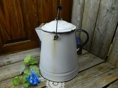 Vintage Large White 2 Handled Graniteware Coffee Pot by allthatsvintage56 on Etsy