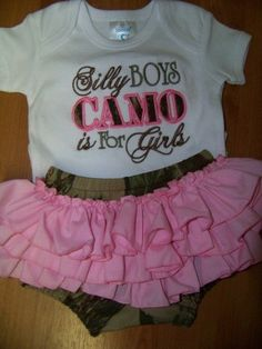 silly boys camo is for girls ruffle bottom diaper cover onesie camoflauge baby ruffle butt outfit on Etsy, $50.00