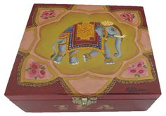 Wooden Tea caddy 4 compartments - Indian style. Hand painted  Available at www.romanticdecorativeart.co.uk
