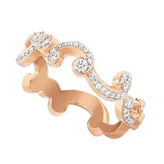 Rococo Pavé Diamond Rose Gold Thin Ring