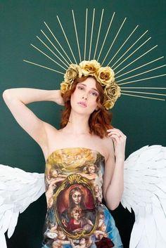 Halo Goddes Gold Reinassance Madonna Headpiece/ Gold Roses Flower Crown with Spikes/ Beyoncé Gold Headdress/ Virgin Mary Saints Headpiece/ Gold Headpiece, Headdress, Victorian Goth, Gold Flowers, Flower Crown, Beyonce, Fashion Photo, Madonna, Hippie Boho