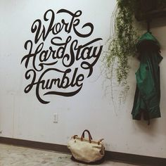 Type hand lettering wall painting graphic design mural