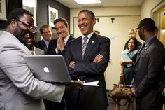 """President Obama laughs back stage during a taping of """"Late Night With Jimmy Fallon"""" at the University of North Carolina in Chapel Hill, April 24, 2012."""