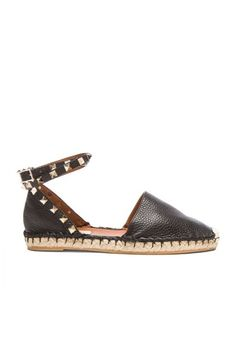Shop for Valentino Rockstud Double Flat Leather Espadrilles in Black at FWRD. Valentino Black, Valentino Rockstud, Leather Espadrilles, Models Off Duty, Casual Street Style, Black Leather, Flats, My Style, Heels