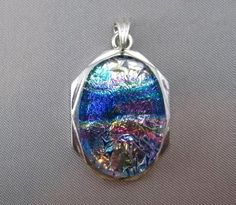 Dichroic Glass Pendant Crackling Multi Colored