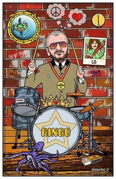 Ringo Starr Art Print by John Goldacker. All prints are professionally printed, packaged, and shipped within 3 - 4 business days. Choose from multiple sizes and hundreds of frame and mat options. The Beatles, Beatles Art, Ringo Starr, Drum Lessons For Kids, Gretsch Drums, Celebrity Caricatures, Thing 1, The Fab Four, Vintage Posters