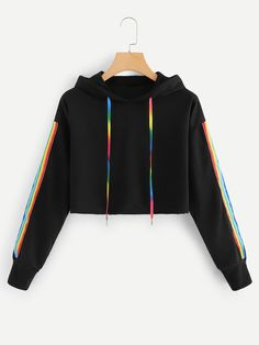 Hooded sweatshirt with tape Teenager Outfits Hooded Sweatshirt tape Girls Fashion Clothes, Teen Fashion Outfits, Mode Outfits, Womens Fashion, Sporty Fashion, Prom Outfits, Sporty Chic, Fashion Wear, Fashion Photo