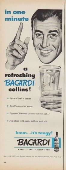 """Description: 1952 BACARDI vintage print advertisement """"in one minute""""""""in one minute a refreshing Bacardi collins ! Juice of half a lemon  *  Small amount of sugar  *  Jigger of Bacardi Gold or Amber Label  *  Fill glass with soda, add ice and stir. hmm ... it's tangy! Bacardi -- World's Largest Selling Rum"""