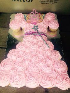 Princess dress cake from cupcakes. Made by Karena