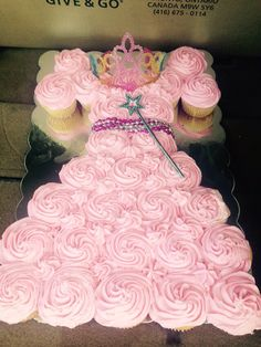 Princess dress cake from cupcakes. Made by Karena