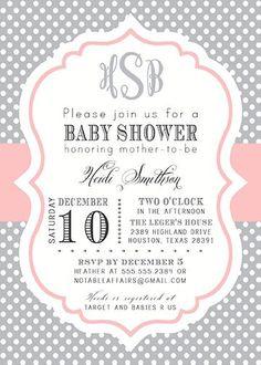 PRINTABLE Gray and Light Pink Blush Monogram Polka Dot Modern Baby Shower BIrthday Invitation