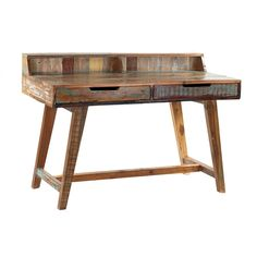 Reclaimed Wood Desk With Drawers.  Deco modern design with reclaimed wood.  Aged Paint and Patina with a sealed wax finish.  Each piece hand made and unique.