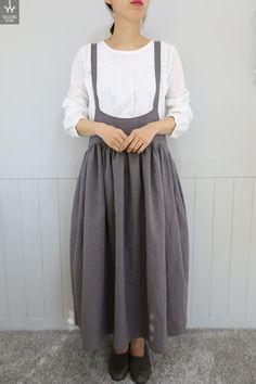 쏘잉별 린넨 셔링멜빵 리본원피스(색상선택) Boho Fashion, Fashion Outfits, Fashion Design, Linen Apron Dress, Japanese Minimalist Fashion, Western Outfits Women, Diy Clothes, Clothes For Women, Romantic Outfit