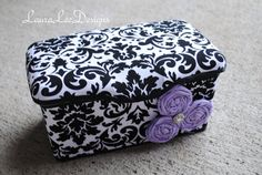 Black and White Damask with Lavender Flowers Boutique Style Nursery Wipe Case