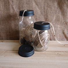 mason jars with holes in lids for twine, string // craft organization