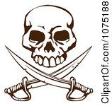 Clipart Pirate Skull Over Crossed Swords Royalty Free Vector Illustration by Geo Images