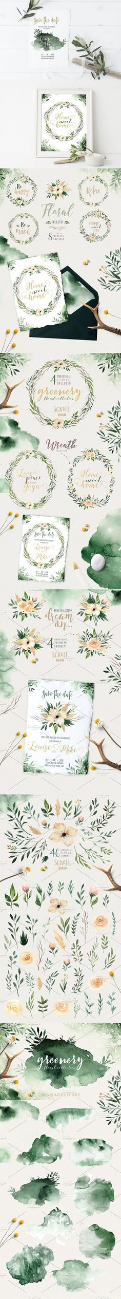 Greenery watercolor collection. Poster Templates