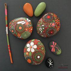 Painted Rocks, Hand-Painted Stones, Mandala Inspired Design, Natural Art, Free…