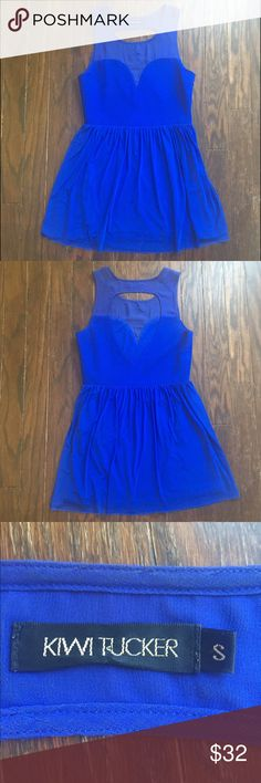 Sexy royal blue LF mini dress with sheer details Super cute royal blue dress from LF with sweet heart and sheer detailing on chest. Back has a sexy teardrop cutout. Has such a sassy babydoll flow to it. Wear it as a dress alone or even over pants. I loved this dress, and it's in great condition. Time to pass it on. Size S, would would also fit a M 💃🏼 LF Dresses Mini