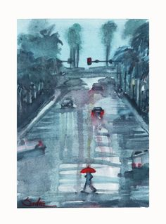California Street in the Rain : Ventura : Impressionist Watercolor Limited Giclee