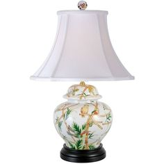 Universal Lighting and Decor Parrots in Bamboo Porcelain Jar Table... (£200) ❤ liked on Polyvore featuring home, lighting, table lamps, lamps, green, green lights, bamboo lighting, porcelain lamps, green jars and bamboo lamp