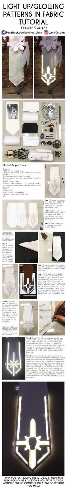 Cosplay light up pattern on fabric tutorial by LuminCosplay.deviantart.com on @DeviantArt