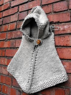 Hand Knit Hooded Poncho Size 1 to 2 Years by VintageBabyRevival