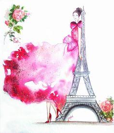 "#eiffeltower #fashionillustration #fashionpainting  Sneha (@sneha.illustradentist) on Instagram: ""Sunday dreaming and painting #eiffeltower🗼 and Paris holiday. How I wish. P.S. it's a rainy day…"""