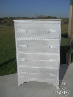 Lake Girl Paints: Gray and White Arrow Dresser