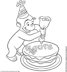 Curious George Coloring Page--print and roll up to include with favors