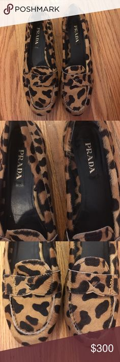 Prada leopard loafers Like new, purchased from The Real Real, comes with dust bag. Size on shoe is 38 1/2 , please know size conversion before purchasing Prada Shoes Flats & Loafers