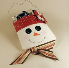 I saw this cute little snowman SOMEWHERE but I can't find the link. It's made with a 3x3 envelope. You close it and cut the top off. The bo...