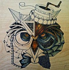 Drawing Animals that were made for Steampunk Clothing Steampunk Images, Steampunk Bird, Steampunk Animals, G Dragon, Steampunk Clothing, Steampunk Drawing, Nocturnal Birds, Drawing Projects, Owl Art