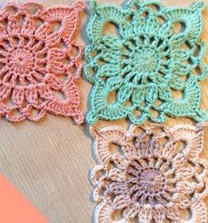 ❤ Egyszerű horgolt csipke (nagyi) négyzet kezdőknek ❤Mindy -  kreatív ötletek és dekorációk minden napra Crochet Granny Square Afghan, Crochet Square Patterns, Crochet Blocks, Crochet Stitches Patterns, Crochet Squares, Crochet Motif, Easy Crochet, Crochet Lace, Stitch Patterns