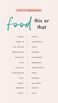 Story Templates – Food – Kelsey Heinrichs Story Templa… - Famous Last Words Snapchat Question Game, Snapchat Questions, Instagram Story Questions, Instagram Story Ideas, Instagram Games, Would You Rather Questions, Fun Questions To Ask, This Or That Questions, This Or That Game